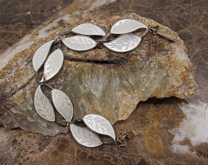 Stunning Meka of Denmark vintage Sterling Silver translucent White Enamel Guilloche handcrafted Leaf Motif signed Link Bracelet