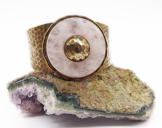 Jan Michaels of San Francisco Art Deco style retired circular Rose Quartz stone antiqued hammered brass signed cuff bracelet