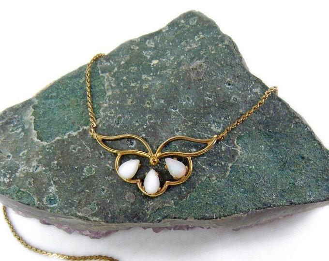 Vintage Art Deco Revival Art Co. Arthur Pepper 14k gold filled luminous Opal glass signed Decorative Necklace
