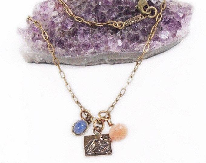 Vintage Extasia Egyptian Revival Bronze Blue German Pressed Glass Scarab faceted Swarovski Mythical Bronze Charm Necklace