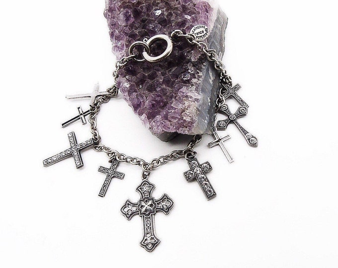 Catherine Popesco of France La Vie Parisienne Victorian revival silver plated Swarovski Crystal accented Cross signed charm bracelet