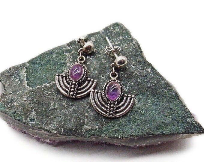 Sterling Silver vintage Art Deco Revival smooth Amethyst Cabochon signed dangle earrings circa 1970s
