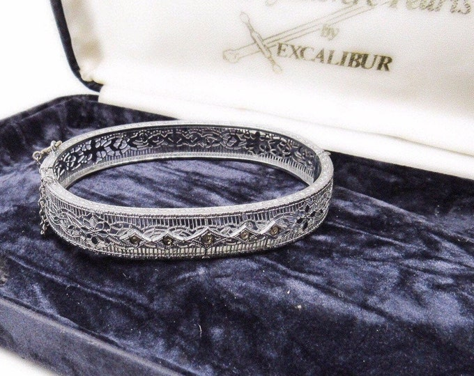 Art Deco Era vintage Rhodium Plated filagree faceted Marcasite Crystal accented ornate Bangle Bracelet