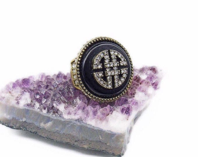 Gorgeous Heidi Daus vintage Art Deco Revival antiqued Brass Jet Black Glass faceted Swarovski Crystal accented Designer Statement Ring