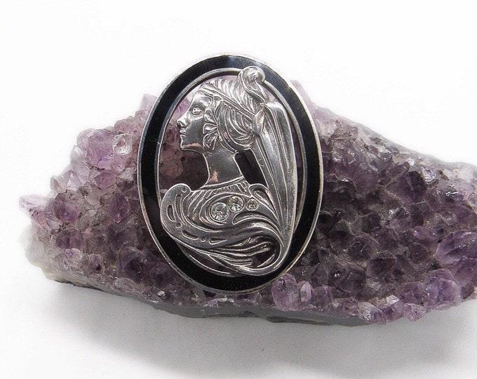 Vintage Art Nouveau revival signed ARI. 925 sterling silver black enamel rhinestone 1980s decorative brooch