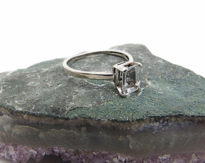 Vintage Art Deco Era Sterling Silver faceted Emerald cut Spinel signed solitaire size 8 Ring