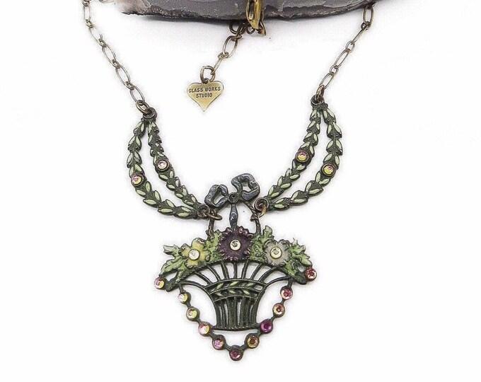 Vintage Glass Works Studio Ltd 1980s Victorian Edwardian revival antiqued brass faceted crystal enamel signed necklace
