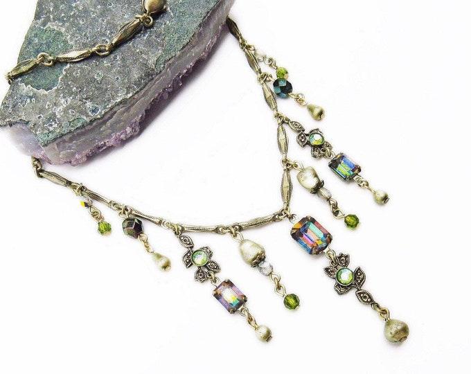Vintage Kirks Folly Regal antiqued gold tone faceted Swarovski Crystal signed Designer Necklace
