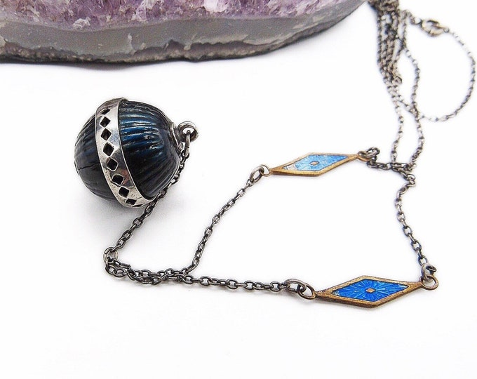 Antique Victorian Sterling Silver figurative blue enamel ball estate lavaliere necklace