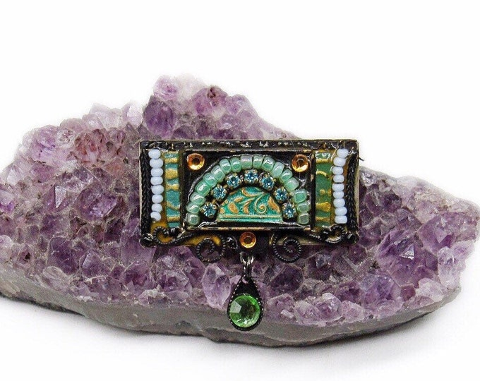 Amazing Adaya vintage Austrian Crystal Czech Glass Enamel handcrafted in Israel signed Artisan Brooch