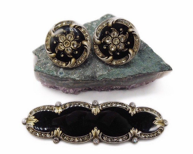 Amazing vintage Catherine Popesco of France Victorian Revival gold scroll work faceted Crystal Jet Black Enamel signed Brooch Earrings Set