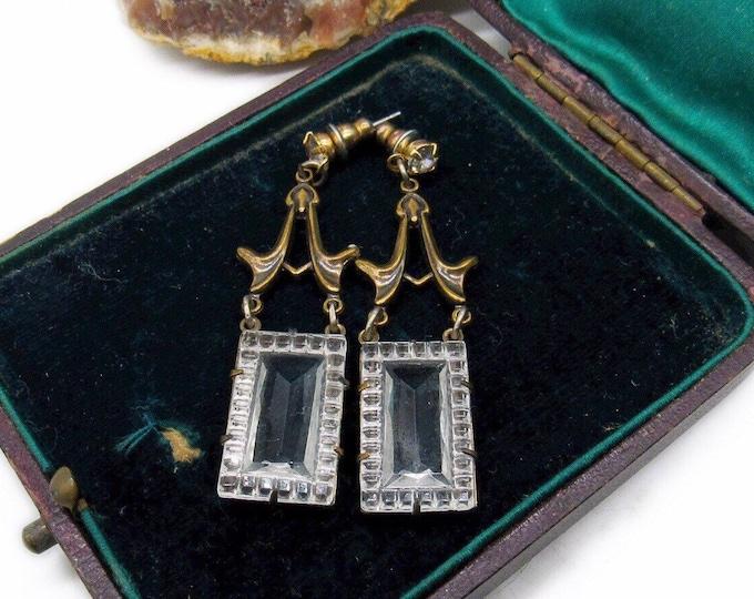 Edwardian Victorian Revival Sadie Green vintage antiqued brass faceted Emerald Cut Crystal Designer Drop Earrings