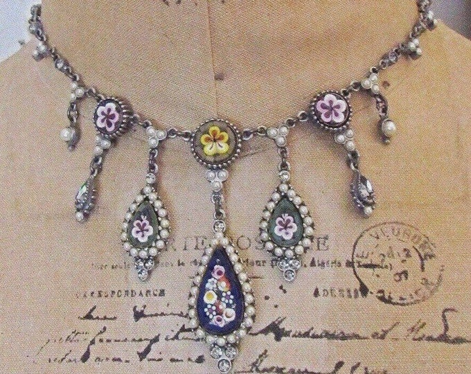 Stunning Ben Amun vintage Byzantine Victorian Revival Micro Mosaic Swarovski Crystal Seed Pearl accented Designer Drop Necklace