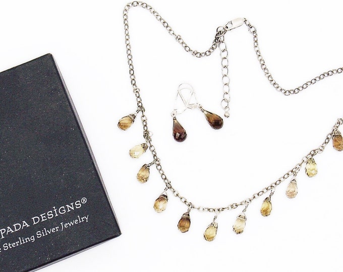 Silpada retired sterling silver chain faceted smoky quartz teardrop charm signed necklace and earrings set