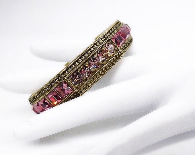Heidi Daus retired Art Deco styled oxidized brass and Rose Swarovski crystal signed bracelet
