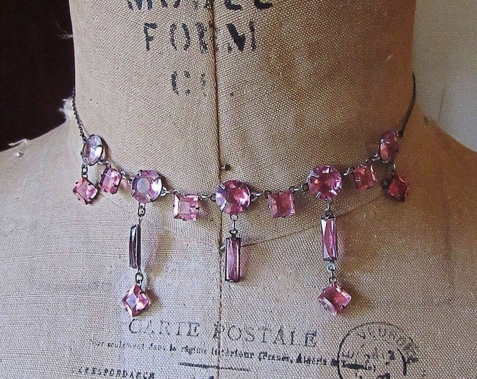 Dainty Art Deco Vintage Sterling Silver faceted Pink Crystals signed Choker Necklace