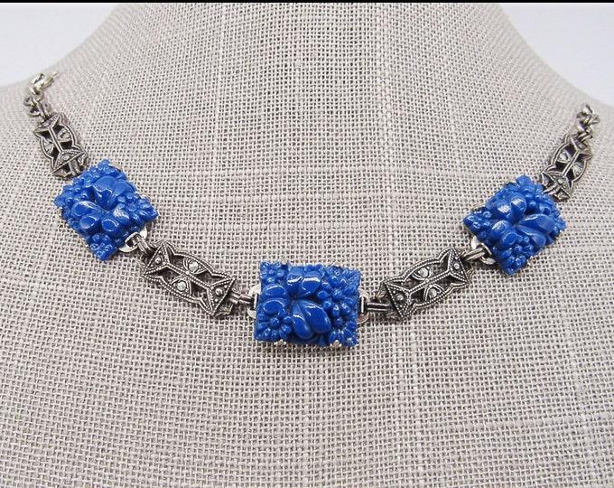 Antique vintage Art Deco /Art Nouveau sterling silver marcasite molded Lapis blue Czech Glass signed bracelet