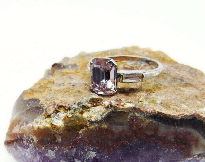 Dazzling Uncas vintage Art Deco Sterling Silver brilliant faceted Emerald Cut Pink Quartz Crystal baguette accented size 9 Ring