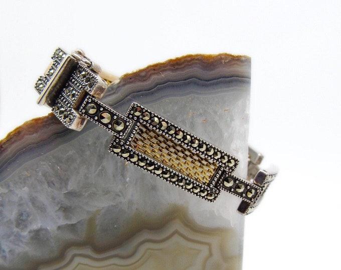 Judith Jack vintage Art Deco design Sterling Silver Marcasite Gold Vermeil Mesh signed Designer link Bracelet