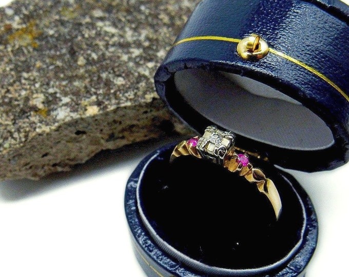 Elegant antique 14k White and Yellow Gold genuine faceted Diamond and Ruby accented beautiful size 7 Multi Stone Ring