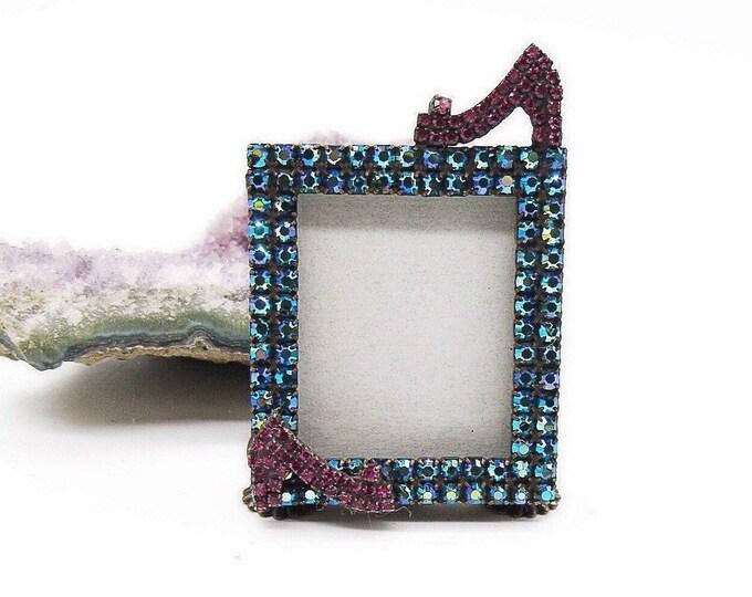 Dorothy Bauer rare vintage antiqued brass faceted Swarovski Crystal decorative signed Estate picture frame