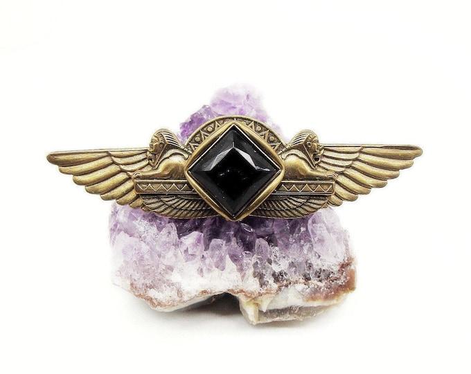 Jan Michaels of San Francisco vintage Egyptian Revival antiqued brass faceted Jet Black glass Crystal signed Designer Brooch