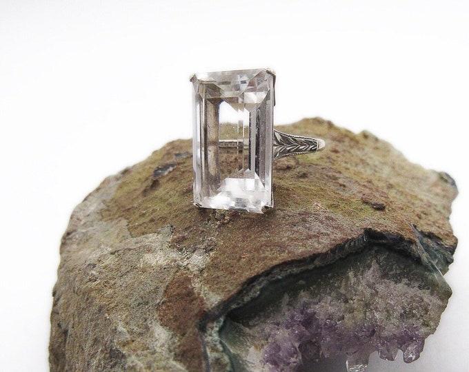 Vintage Art Deco Japanese Sterling Silver faceted Emerald cut Rock Quartz Crystal signed statement Ring