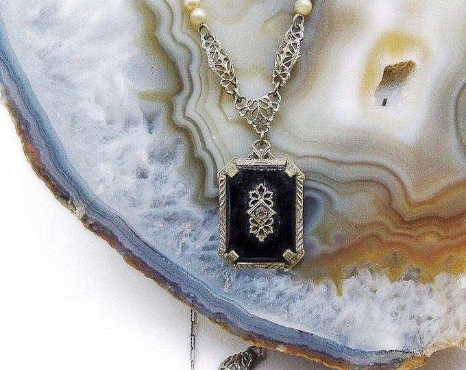 Delicate antique Edwardian Rhodium Plated Jet Black Camphor Glass Paste Stone faux Pearl accented Lavaliere Necklace