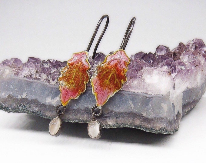 Sterling silver Thousand Flowers circa 1970s enameled Autumn leaf moonstone glass drop signed dangle earrings