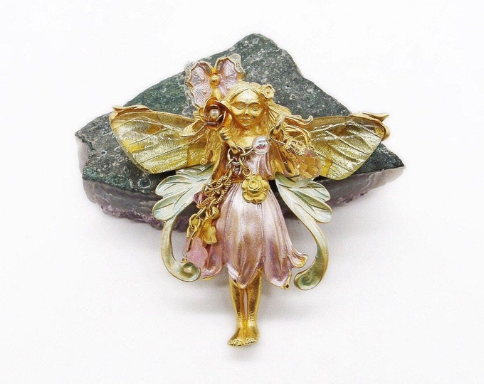 Kirks Folly Magical vintage brilliant gold tone faceted Swarovski Crystal seed pearl enamel Primrose Butterfly Fairy pendant brooch