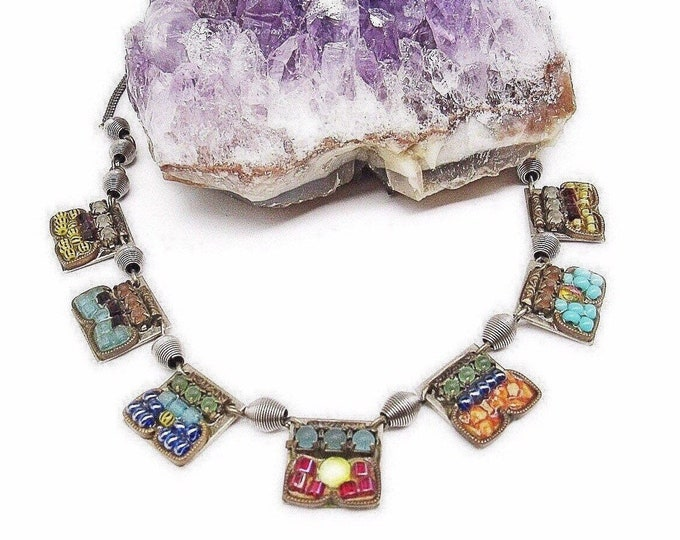 Ayala Bar of Israel vintage silver tone faceted Austrian Crystal Czech Glass Bead accented Designer Mosaic Bib Necklace