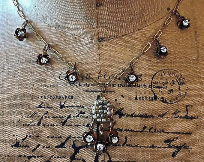 Spectacular vintage JANNY Victorian Revival antiqued brass tone faceted Crystal genuine Seed Pearl accented signed Designer Necklace