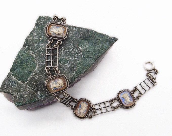 1920s Vintage Victorian revival Sterling Silver 1/20 12k gold fill  Morpho Butterfly sulphide Cameo signed England link bracelet