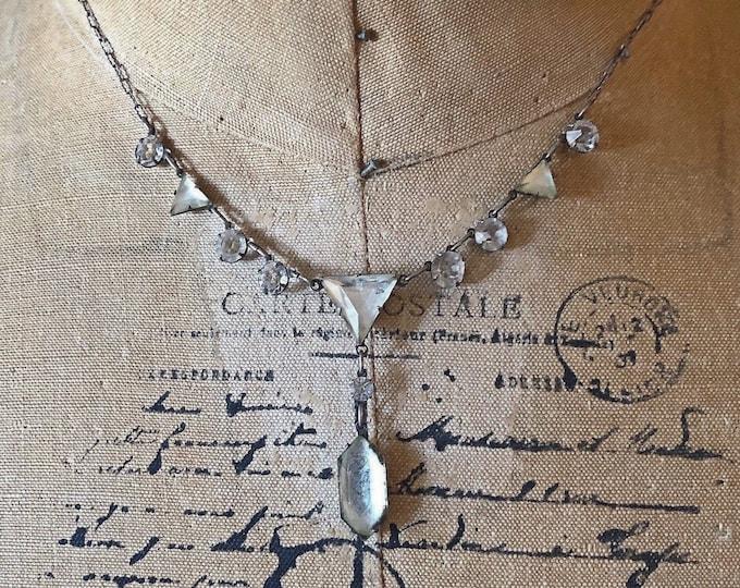 Exquisite antique Georgian Revival sterling silver faceted bulbous closed foil back genuine Paste Stone signed Bib Necklace