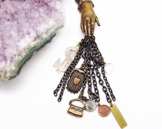 Rare Vintage Jan Michaels of San Francisco antiqued brass faceted crystal Victorian revival signed dangle brooch