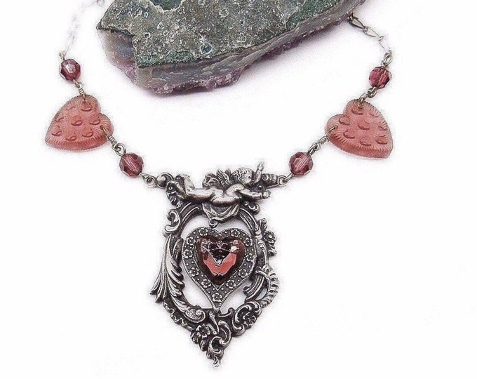 Romantic vintage Pididdly Links Victorian revival antiqued silver faceted crystal molded glass hearts ans Cherub signed statement necklace