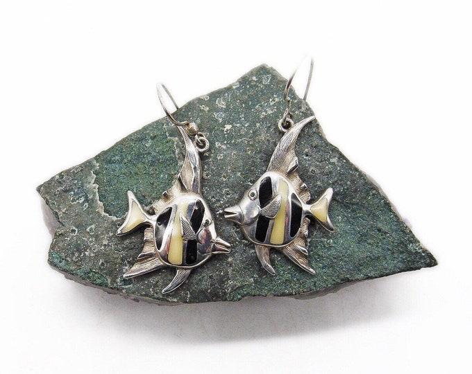 Kabana vintage retired Sterling Silver handcrafted Jet Black and Cream Enamel signed Angel Fish dangle Earrings