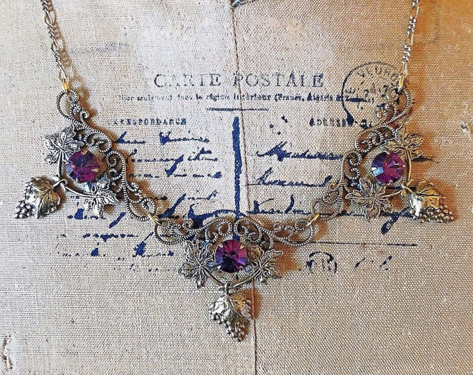 Sadie Green vintage Victorian Revival antiqued brass faceted Purple Aurora Borealis  Crystal accented signed Designer Necklace