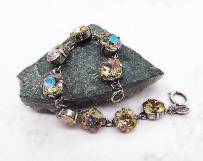 Catherine Popesco of France vintage antiqued silver tone faceted Topaz yellow Aurora Borealis Crystal signed link bracelet La Vie Parisienne