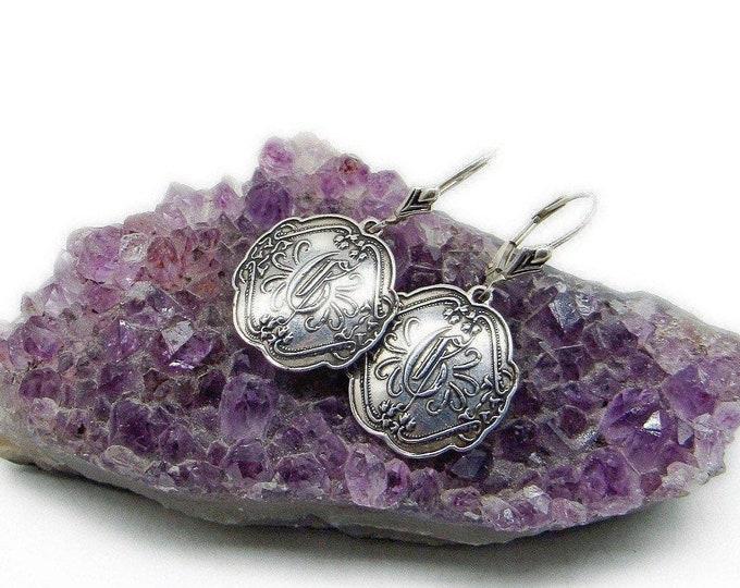 Vintage Designer Shavarsh K Victorian Revival Sterling Silver Engraved letter E signed Dangle Earrings
