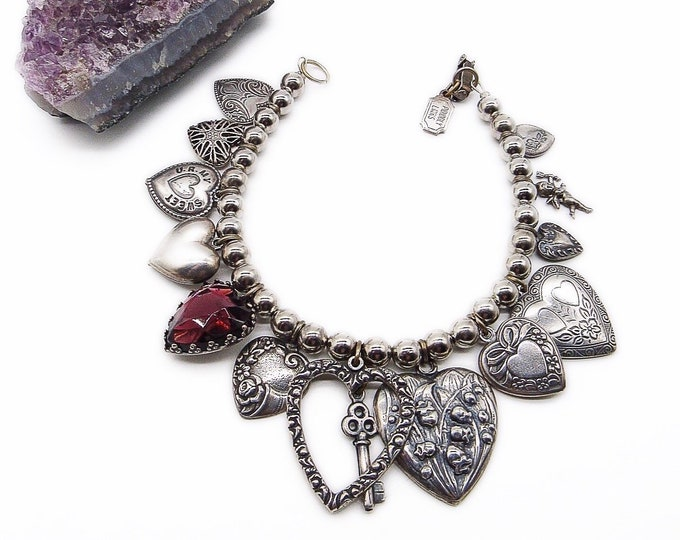 Vintage Pididdly Links NY 1980s Victorian revival silver plated hearts signed charm bracelet