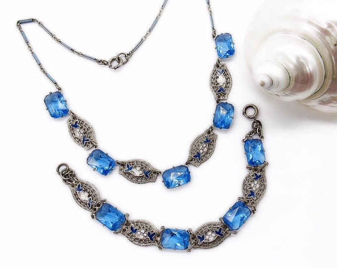 Art Deco Rhodium plated Enamel filigree and sapphire blue glass open back necklace and bracelet set circa 1900-1920 FREE SHIPPING !