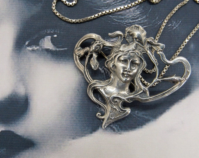 Art nouveau sterling silver revival pendant /brooch Garden of Eden theme with 925 chain necklace