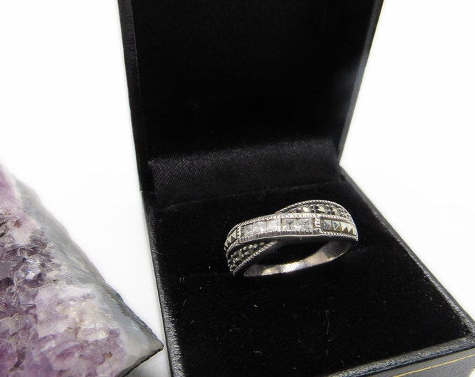Retired Judith Jack Art Deco style sterling silver marcasite and crystal signed statement ring