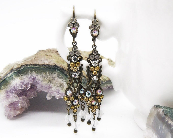 Vintage Sorrelli delicate antiqued brass tone Mult colored faceted Crystal signed statement earrings