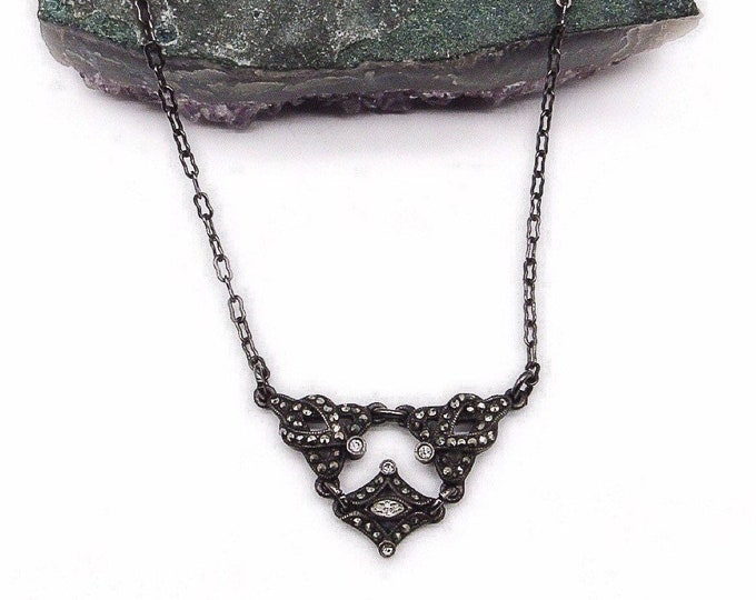 Roxanne Assoulin Vintage Art Deco revival antiqued silver tone faceted Crystal and Marcasite signed necklace