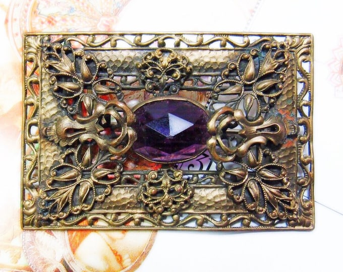 Antique early 20th century ornate brass Edwardian style sash pin with a beautiful rose cut amethyst glass cabochon FREE SHIPPING !