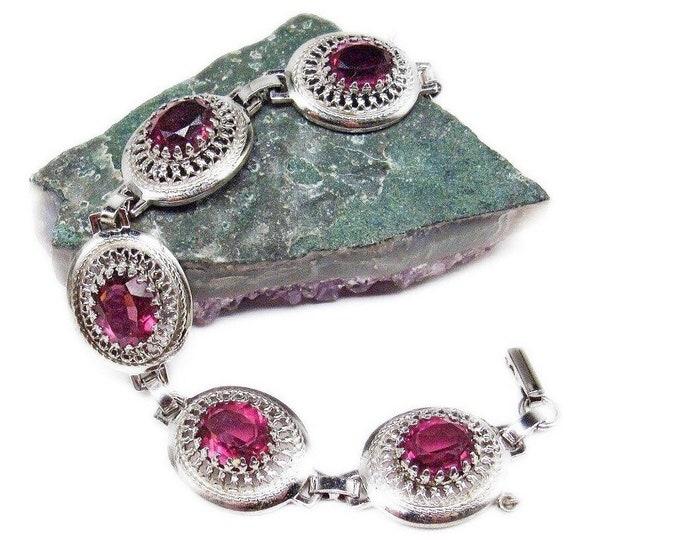 Danecraft vintage Mid Century Sterling Silver filagree faceted Amethyst Purple Crystal signed Designer Bracelet