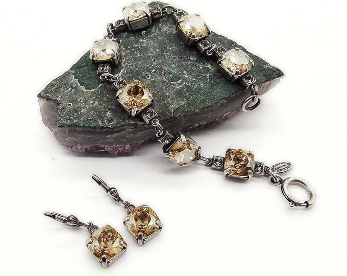 Catherine Popesco of France vintage retired silver plated faceted Topaz yellow crystal signed link bracelet and earrings set