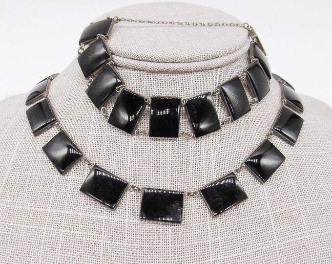 Vintage Art Deco Sterling Silver and shiny Obsidian signed necklace and bracelet set circa 1920-1930s